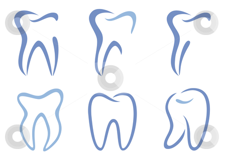 Vector teeth stock vector clipart, Set of abstract teeth, vector illustration by Beata Kraus