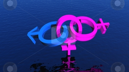 Bisexual woman upon ocean stock photo, Two female symbols and one male representing a bisexual woman upon blue ocean by Elenarts