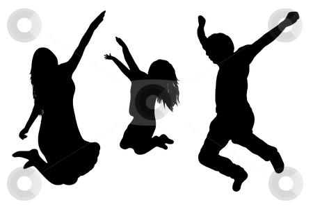 Jumping family silhouette stock vector clipart, Jumping family silhouette isolated on white background by Ioana Martalogu