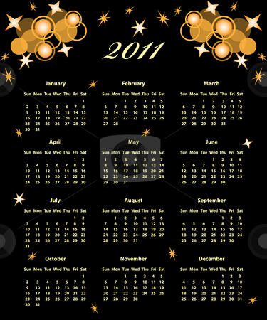 2011 Calendar full year stock vector clipart, 2011 Calendar full year decorated with golden stars and circles on a black background. by toots77