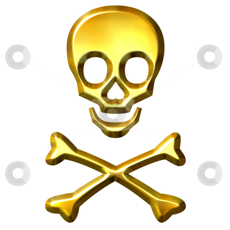 3D Golden Crossbones stock photo, 3d golden crossbones isolated in white by Georgios Kollidas