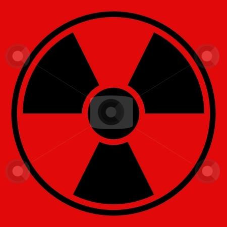 Radiation Warning Sign stock photo, Round radiation warning sign on red background by Henrik Lehnerer