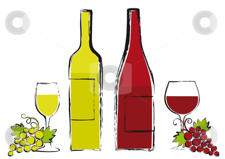 Wine bottles with glasses and grapes stock vector clipart, Red and white wine bottles with glasses and grapes, grungy vector illustration by Beata Kraus