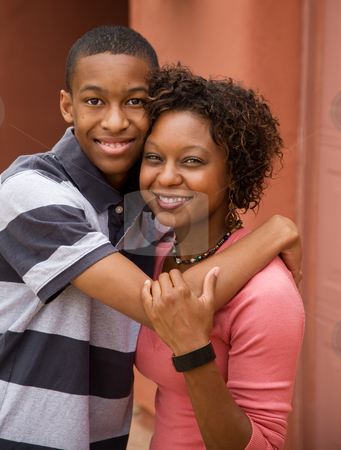 African-American single-parent family stock photo, Good-looking single-parent mom and son by Scott Griessel