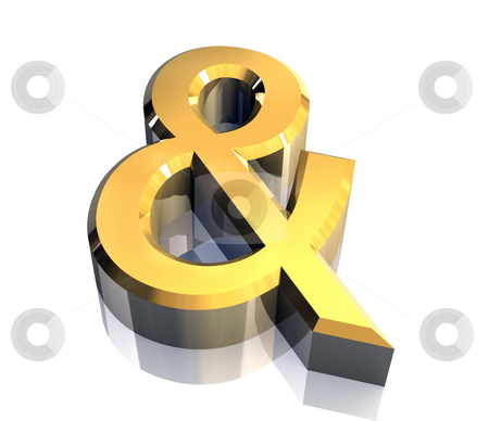 And symbol in gold isolated (3d)  stock photo, And symbol in gold isolated (3d made) by Fabrizio Zanier