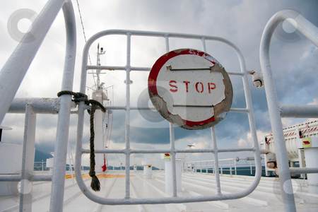 Sign Stop on a gate on boat stock photo, Sign Stop on a gate on boat, ferry trip by Fabrizio Zanier
