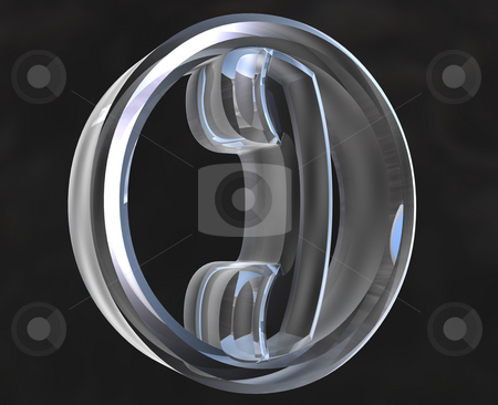 Phone icon symbol in glass (3D) stock photo, Phone icon symbol in glass (3D made) by Fabrizio Zanier