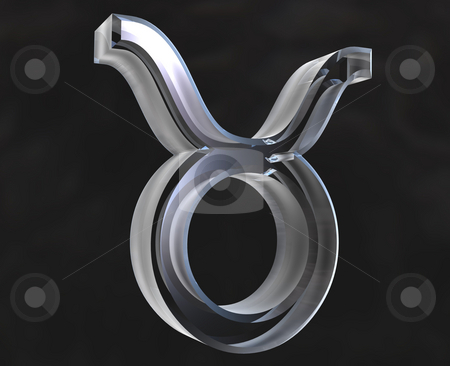 Taurus astrology symbol in transparent glass (3d) stock photo, Taurus astrology symbol in transparent glass (3d made) by Fabrizio Zanier