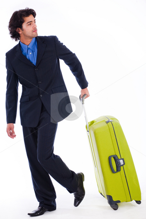 Corporate man looking back with the luggage stock photo, Corporate man looking back with the luggage in isolated white background by Get4net