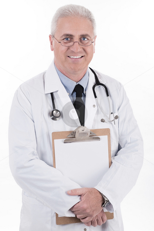 Senior doctor holding clipboard stock photo, Senior doctor holding clipboard on isoalted white background by Get4net