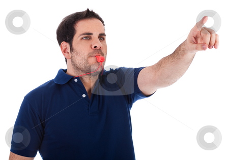 Sports coacher whistling and pointing up stock photo, Sports coacher whistling and pointing up on a white background by Get4net