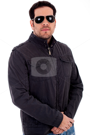 Handsome model with jacket and sunglasses stock photo, Handsome model with jacket and sunglasses on a white isolated background by Get4net