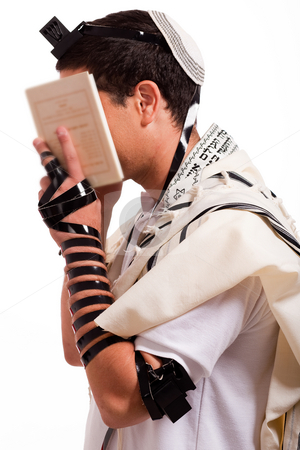 Men praying stock photo, Jewish men praying on isolated background by Get4net