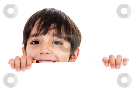 Young boy lifting his head out of the blank board stock photo, Young boy lifting his head out of the blank board on isolated background by Get4net
