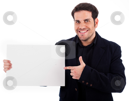 Businessman pointing at the plain board stock photo, Businessman pointing at the plain board on a white background by Get4net
