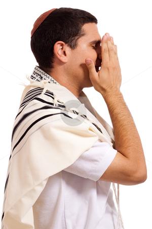 Men praying stock photo, Jewish men praying on isolated background by Get4net