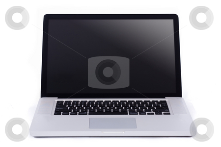 Opened laptop stock photo, Opened laptop on isolated white background by Get4net