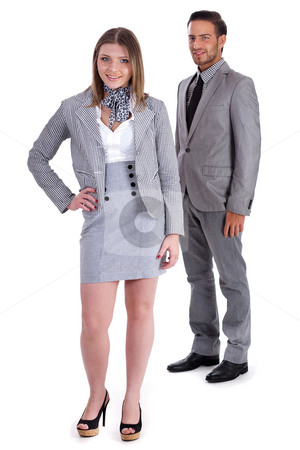 Young Business collegues looking at you stock photo, Young Business collegues looking at you on isolated white background by Get4net