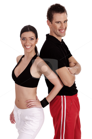 Fitness people standing together stock photo, Fitness people standing together on isolated white background by Get4net