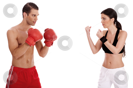 Young boxers training stock photo, Young boxers training over white background by Get4net