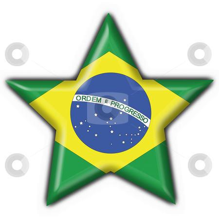 Brazilian button flag star shape stock photo, Brazilian button flag star shape - 3d made by Fabrizio Zanier