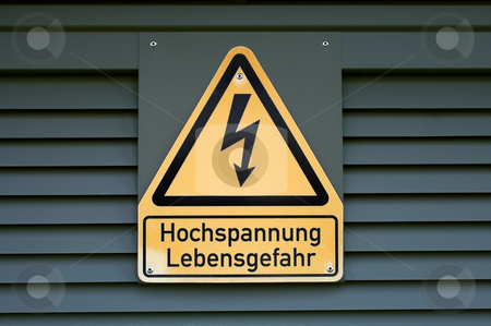 High Voltage stock photo, Sign on high electric voltage on a transformer box. by Nikolaj Kondratenko