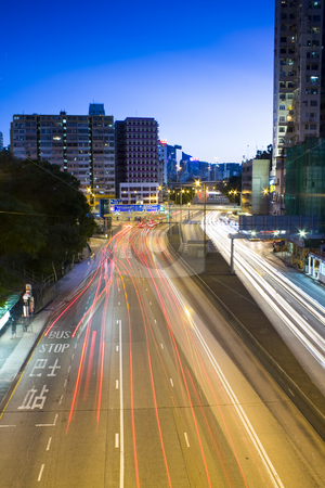 Traffic in city at night  stock photo, Traffic in city at night by Keng po Leung