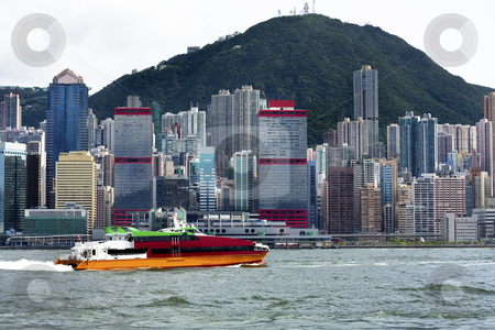 Ferry fast moving in hong kong stock photo, Ferry fast moving in hong kong by Keng po Leung
