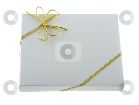 Gift box with ribbon stock photo, White gift box with golden ribbon isolated on white by Svetlana Starkova