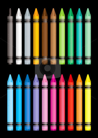 Crayon collection stock vector clipart, Brightly coloured crayon collection with black background by Michael Travers