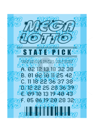 Lottery ticket blue stock vector clipart, National state lottery with mega lotto concept and winning numbers by Michael Travers