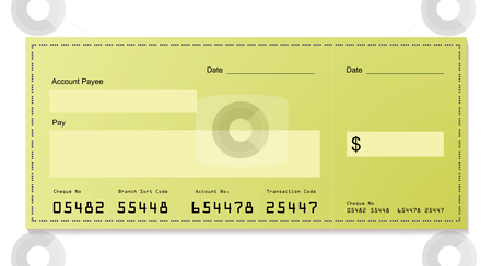 Green dollar cheque stock vector clipart, Green dollar bank cheque with space for your own information by Michael Travers