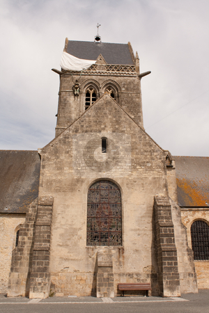 Church stock photo, The church of saint mere eglise by Koen Adriaenssen