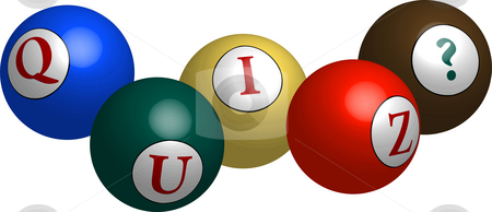 Quiz Balls stock photo, Colorful balls spelling out 'Quiz' with question mark illustration by Celia Anderson