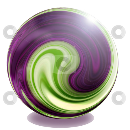 Purple, green and cream sphere glass marble illustration  stock photo, Purple, green and cream sphere glass marble illustration by Celia Anderson