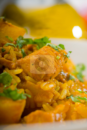 Curry beef rice and potatoes stock photo, Fresh home made curry beef rice and potatoes with ingredients around composition by Francesco Perre