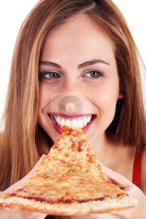 Smiling woman eating pizza stock photo, Close up shot of a smiling woman eating pizza over white background by Get4net