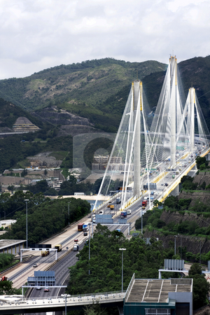 Ting Kau Bridge. Cable-stayed bridge in Hong Kong  stock photo, Ting Kau Bridge. Cable-stayed bridge in Hong Kong by Keng po Leung