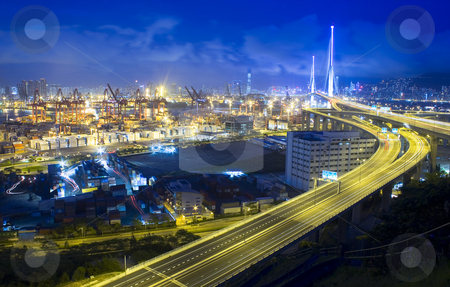 Hong Kong Bridge of transportation at night stock photo, Hong Kong Bridge of transportation at night by Keng po Leung