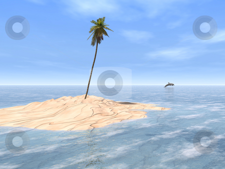 Tropical Sandbar stock photo, A single coconut tree towers over a patch of white sand, surrounded by the clear waters of a gorgeous tropical sea. A dolphin leaps in the distance. by Cheryl Bader