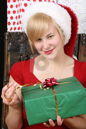 Christmas Gifts stock photo, Beautiful blond female holding a christmas present by Vanessa Van Rensburg