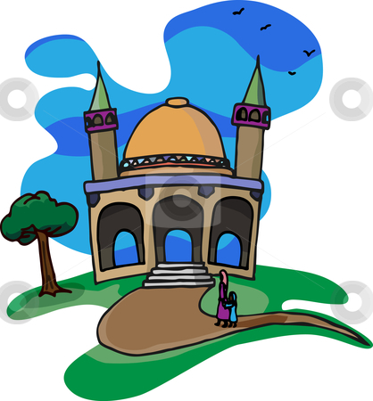 Trip To A Little Mosque stock vector clipart, A mother and daughter walk together on a beautiful day for a visit to a little mosque on a hill. by Eric Basir