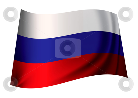 Russian flag stock vector clipart, Flag of russia in red white and blue colours fluttering by Michael Travers