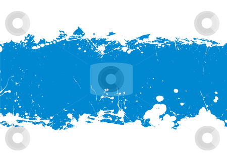 Blue ink splat banner stock vector clipart, Grunge blue ink splat banner with copy space and white background by Michael Travers