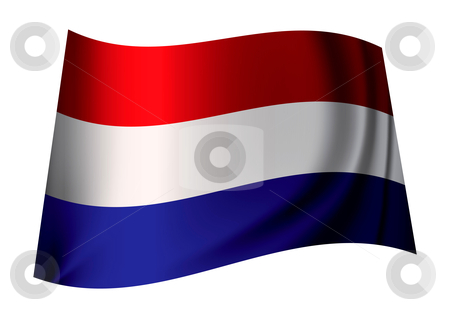 Holland flag stock vector clipart, Dutch flag flying in the wind or icon from holland by Michael Travers