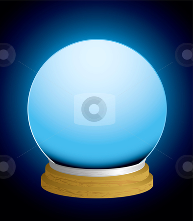 Fortune teller crystal ball stock vector clipart, Glass fortune teller crystal ball with glowing background and wood base by Michael Travers