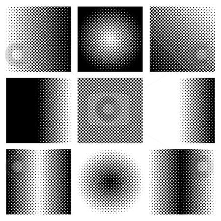 Black halftone collection stock vector clipart, Collection of black and white halftone elements with dots by Michael Travers
