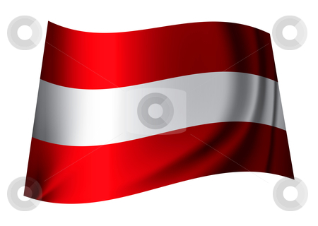 Austria flag stock vector clipart, Red and white austrian flag flying in the breeze by Michael Travers