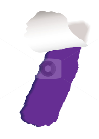 Purple paper slot tear stock vector clipart, Piece of white paper background with purple torn strip and shadow by Michael Travers