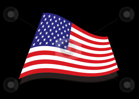 USA stars and stripes black flag stock vector clipart, American usa stars and stripes flag with black background and shadow by Michael Travers